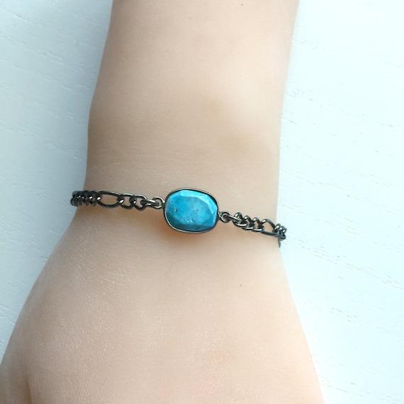 Turquoise Bezel Bracelet in Oxidized Gunmetal