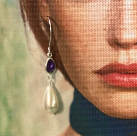Amethyst and Fabulous South Sea Shell Pearl Earrings in Sterling Silver