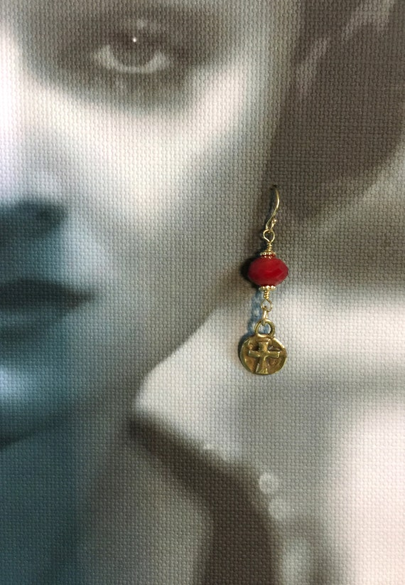 """14k Gold Filled and True Solid Bright """"Gold"""" Bronze Cross with Red Crystal"""