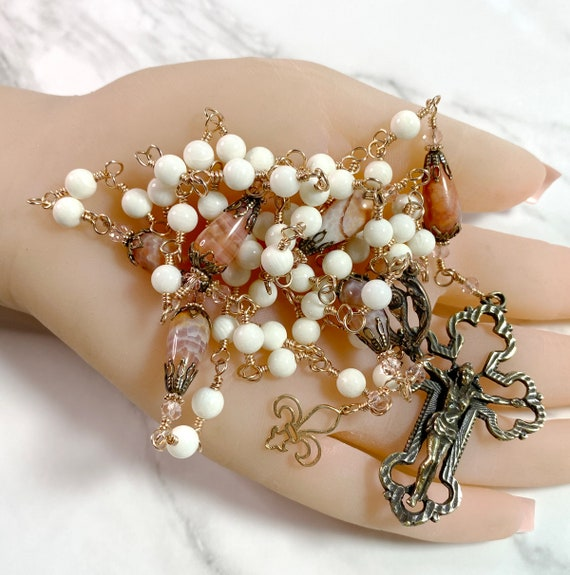 Heirloom Wire-Wrapped Solid Bronze Five-Decade Catholic Rosary in Bamboo Coral and Crab Fire Agate