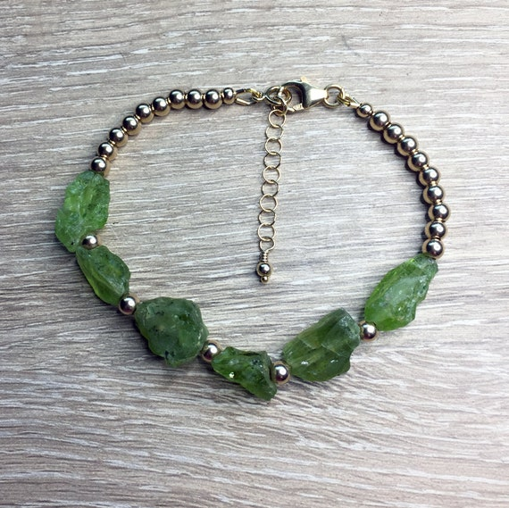 Natural Rough Peridot Paired with Gold Filled Beads Bracelet With Extension Chain