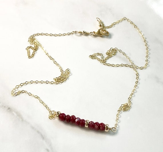 Ruby Gemstone Minimalist Bar Necklace with 14k Gold Filled Chain and Beads