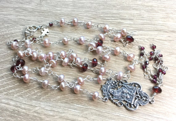 St. Anne Sterling Silver Pink Freshwater Pearl and Natural Garnet Necklace with Garnet Tassel