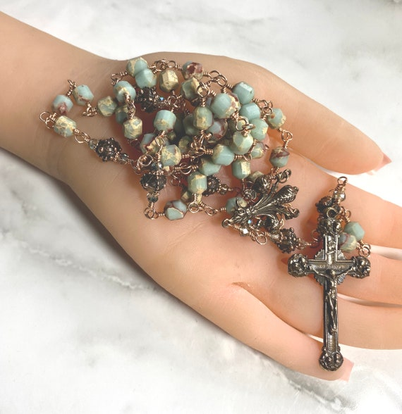 French Twelve Angels and Fleur de Lis Solid Bronze Handcrafted Wire-Wrapped Impression Jasper Catholic Rosary