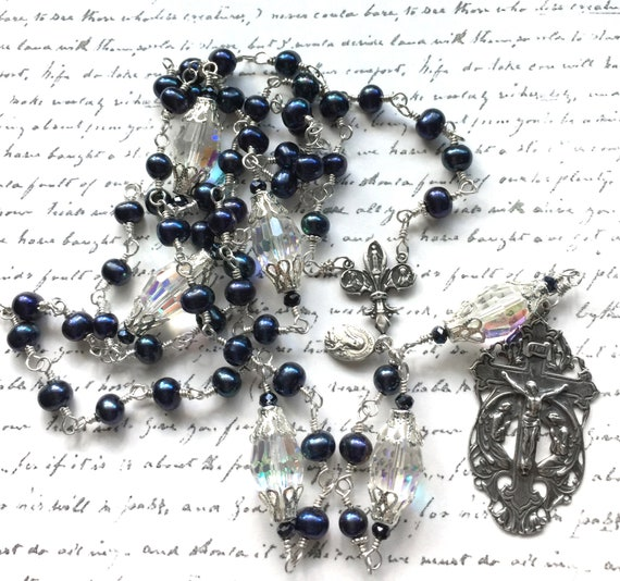 Adoration of the Angels French Fleur de Lis Heirloom Pearl and Sterling Silver Five-Decade Wire-Wrapped Catholic Rosary