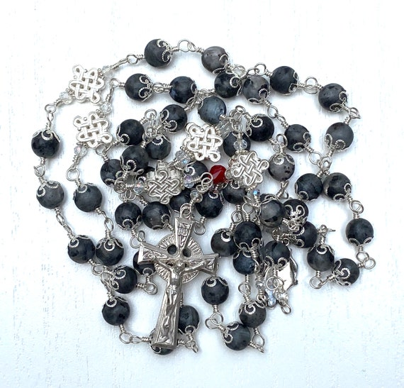 Heirloom Celtic Unbreakable Wire-Wrapped Catholic Rosary of Sterling Silver and Larvikite