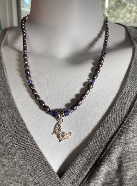 Sterling Silver Mardi Gras / Carnival Mask and Purple Freshwater Pearl Necklace