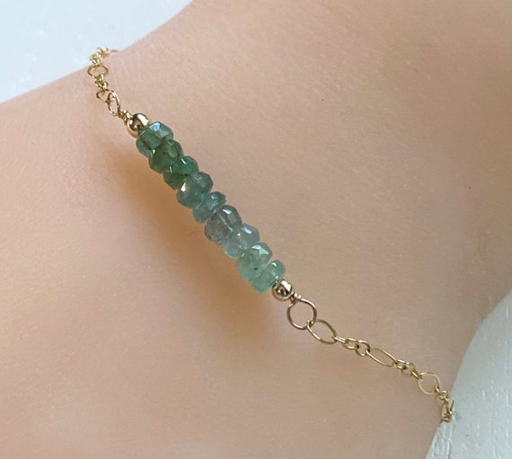 Emerald Gemstone Bracelet with 14K Gold Fill Chain and Clasp - 7 Inches