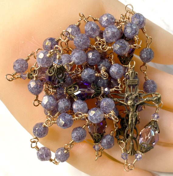 """Heirloom Wire-Wrapped Catholic Rosary in Matte Gold """"Amethyst"""" Luster with True Bronze Vines & Lilies Crucifix and Virgin Mary Center"""