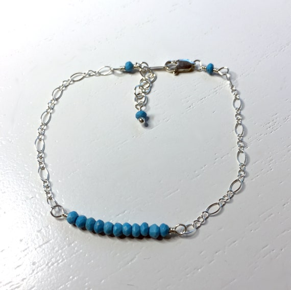 Delicate Minimalist Bracelet of Natural Turquoise Gemstones with Sterling Silver Chain and Clasp