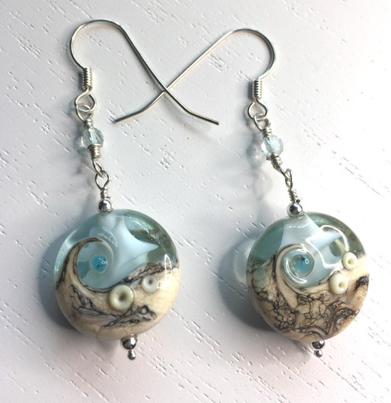 Sterling Silver Earrings with Aquamarine Gemstones and Aqua / Ivory Lampwork