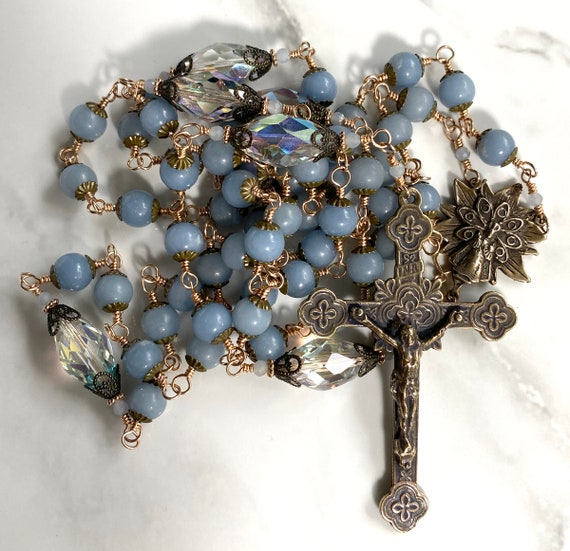 Heirloom Wire-Wrapped Angelite and True Solid Bronze Five-Decade Catholic Rosary with a Three Inch Crucifix