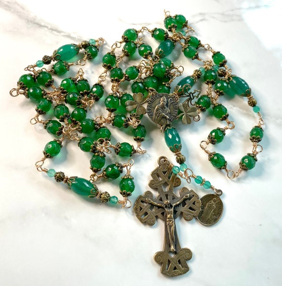 St. Patrick Heirloom Unbreakable Wire-Wrapped Catholic Rosary of True Solid Bronze and Green Onyx