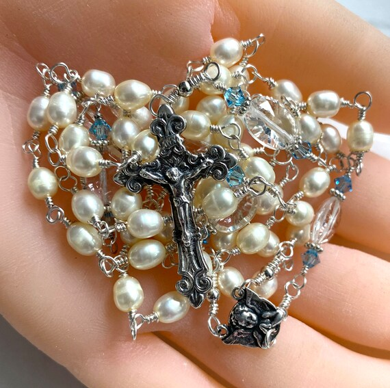 Heirloom French Wire-Wrapped Five-Decade Catholic Rosary of Freshwater Pearls and Rock Crystal with Light Blue Swarovski Accents