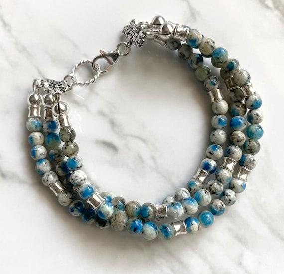Sterling Silver and Grade AAA Natural K2 Stone Bead Bracelet