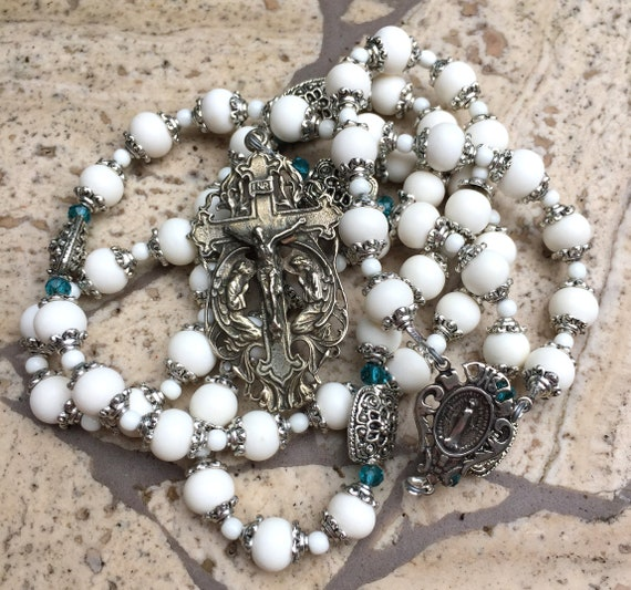 French Adoration of the Angels Fleur de Lis Handmade Heirloom Cable Bone and White Bronze Catholic Rosary