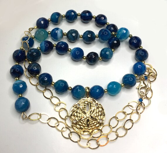 Sea Blue Striped Agate Necklace with 25mm Gold Vermeil Sand Dollar, Gold Filled Chain and Tiny Beads