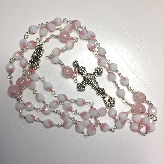 Wire-Wrapped Unbreakable Catholic Rosary in Rose Quartz and Pink / White Czech Glass with Pewter San Benito Crucifix and Holy Mother Center