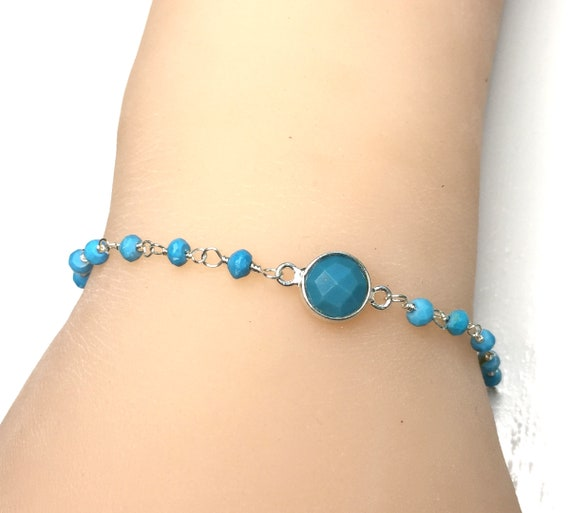 Wire Wrapped Turquoise and Sterling Silver Bracelet 7 Inches