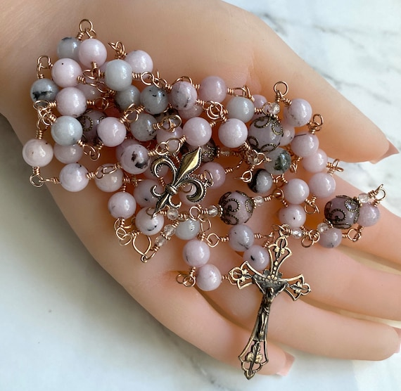 French Heirloom Wire-Wrapped Catholic Rosary in Pink Opal Jade with True Bronze Openwork Crucifix and Fleur de Lis Center
