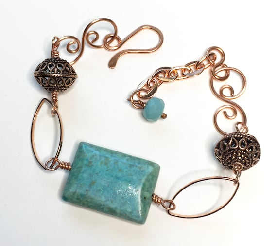 Solid Copper Link Bracelet with Large Chrysocolla Stone and Solid Copper Beads - Adjustable