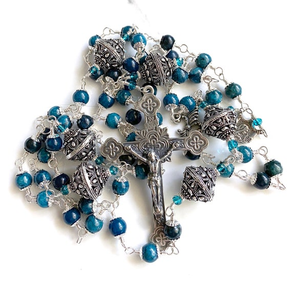 Heirloom Wire-Wrapped Five-Decade Catholic Rosary in Sterling Silver,  Apatite and London Blue Quartz