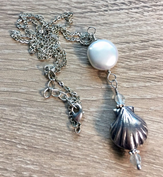 White Coin Pearl, Sterling Silver Seashell and Aquamarine Quartz Necklace
