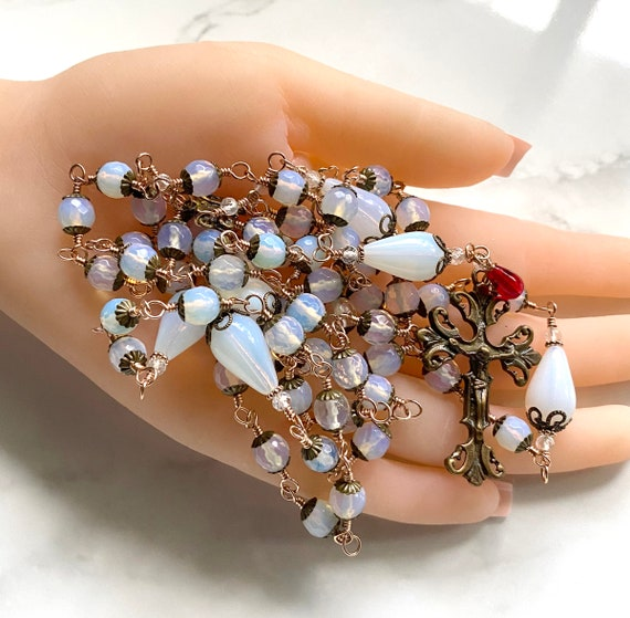 Heirloom Unbreakable Wire-Wrapped Five-Decade Catholic Rosary of True Solid Bronze and Opalite Czech Glass