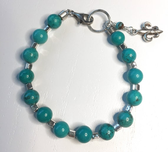 Sterling Silver and Sinkiang Natural Turquoise Bead Bracelet - Fits 7 Inch Wrist