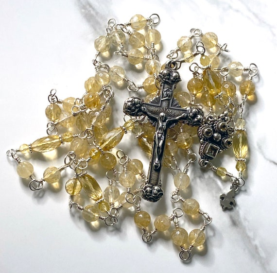 Heirloom Sterling Silver Unbreakable Wire-Wrapped Five-Decade Catholic Rosary in Citrine Gemstone Beads with Angel Crucifix