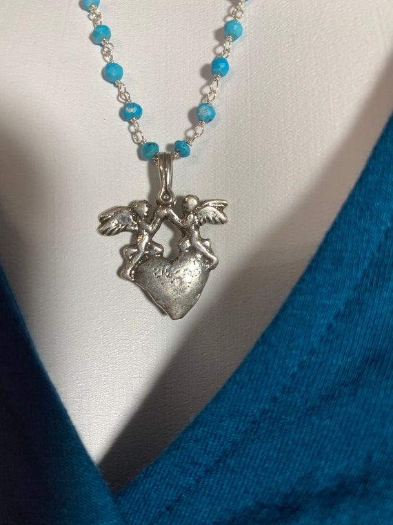 Sterling Silver Angels and Heart Pendant with Sterling Silver Wire-Wrapped Turquoise Chain Necklace