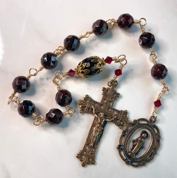 Heirloom Wire-Wrapped Faceted Garnet Gemstone French Pocket Rosary with Solid Bronze Fleur de Lis Crucifix and Miraculous Medal