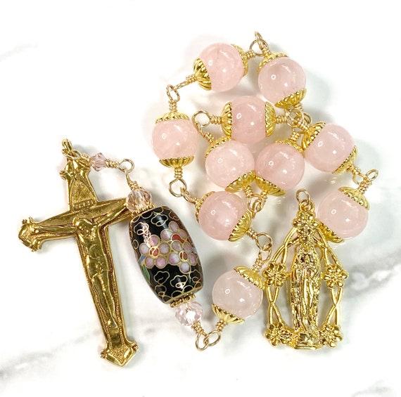 Blessed Virgin Mary 14k Gold Plated Chaplet of Rose Quartz