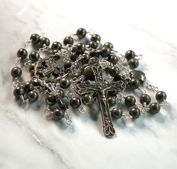 Heirloom Wire-Wrapped Five-Decade Catholic Rosary of the Madonna in Palazzo Iron Pyrite and White Bronze