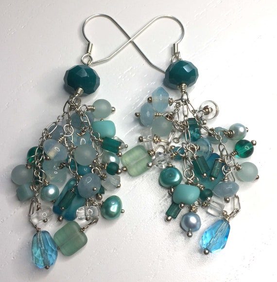 Statement Sterling Silver Aqua and Turquoise Waterfall Chandelier Earrings on Sterling Silver Ear Wires