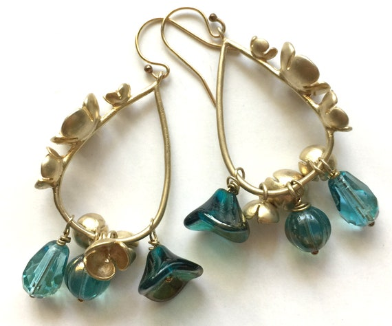 Matte Gold-Tone Flower Hoop and Turquoise Glass Bead Earrings with 14k Gold Filled Ear Wires