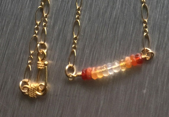 Mexican Fire Opal Ombre / Shaded Gemstone 30 Inch Minimalist Bar Necklace with 14k Gold Filled Chain