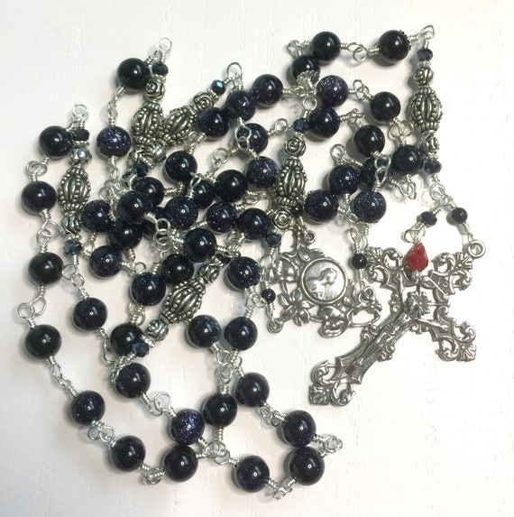 Heirloom Dark Blue Goldstone and Sterling Silver Five-Decade Wire-Wrapped Catholic Filigree Rosary