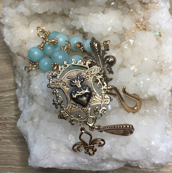 True Bronze Sacred Heart and French Fleur de Lis Amazonite Gemstone Handcrafted Wire-Wrapped Two-Strand Bracelet