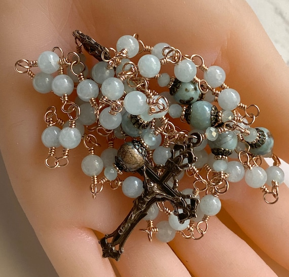 Heirloom Unbreakable Wire-Wrapped Five-Decade Solid Bronze Catholic Rosary in Aqua Quartz and Agate