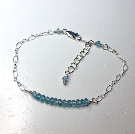 Delicate Minimalist Bracelet of Natural Aquamarine Gemstones with Sterling Silver Chain and Clasp