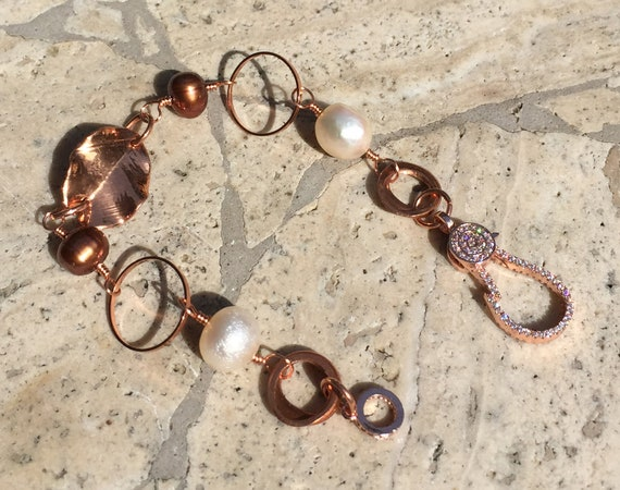 Solid Copper Link Bracelet with White and Copper Large Pearls and a Solid Copper Leaf with Beautiful Rhinestone Clasp