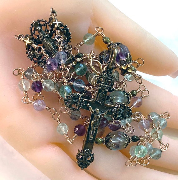Faceted and Carved Blue Purple Green Fluorite Gemstone French Heirloom Wire-Wrapped Five-Decade Catholic Rosary in Solid Bronze