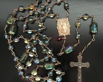 Solid Bronze Wire-Wrapped French Fleur de Lis and Blessed Mother / Lourdes Catholic Rosary - Made in Louisiana