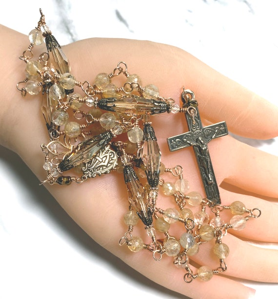 Heirloom Solid Bronze Wire-Wrapped Five-Decade Catholic Rosary in Golden Faceted Quartz and Faceted Swarovski