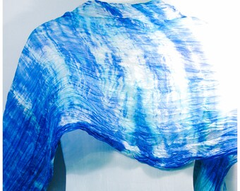 "Shibori Silk scarf. 36x68"". Hand painted silk scarf. Blue silk scarf. Handmade silk scarf. Handpainted silk scarf. Painted silk scarves."
