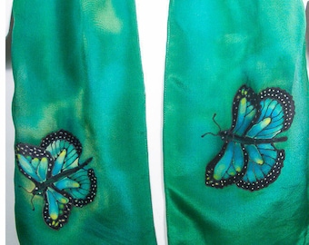 "Painted silk scarf. 8""x52""crepe. Butterfly silk scarf. Green silk scarf. Hand Painted Silk Scarf. Painted silk scarves. Silk scarf handpaint"