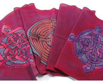 "SALE ~ Celtic knot Silk Scarf. Labyrinth silk scarf~11x59"" crepe silk~Hand painted silk scarf~Hand-painted silk scarves~Painted silk scarves"