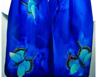 "Butterfly Silk Scarf. 11""x57"" Painted silk scarves. Hand painted silk scarf. Swallowtail butterfly scarf. Silk scarf handpaint~silk painting"
