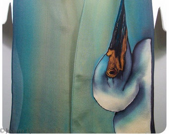 "Heron Silk Scarf. 8x52"". Painted silk scarves. Silk scarf hand-painted~Hand painted silk scarf~Handpainted silk scarf~Egret silk scarf"